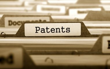 Patents Concept on File Label.