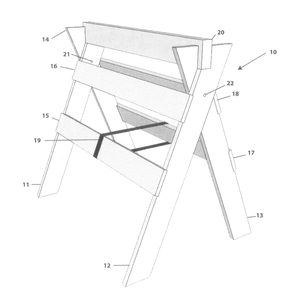 """Strong, lightweight, folding wooden sawhorse"" patent issues for inventor Harvey Wysong."